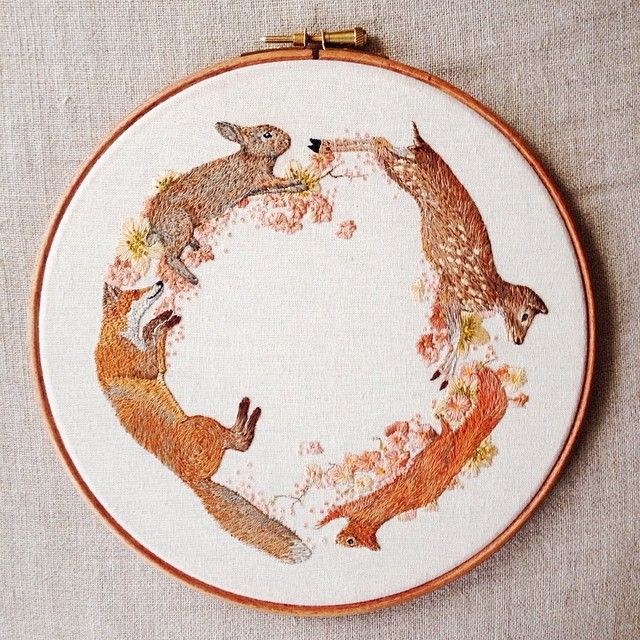"I am so excited to have finished this 8""hoop! :) I've been working on this for 4 weeks and I'm super chuffed with the outcome!! : :) http://instagram.com/emillieferris"