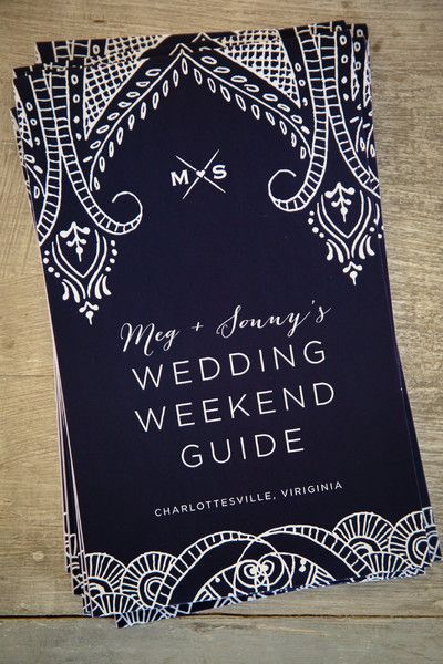Having a multi-day wedding? A wedding weekend guide like this is perfect to keep guests on top of events! {@hopkins_studios}