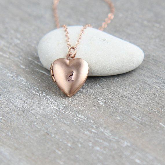 Personalized Locket, Tiny Locket Necklace, Rose Gold Locket, Pink Heart Locket, Rose Gold Necklace, Rose Gold Jewelry, Personalized Jewelry