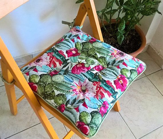 Colorful chair pad chair cushions with ties outdoor decor