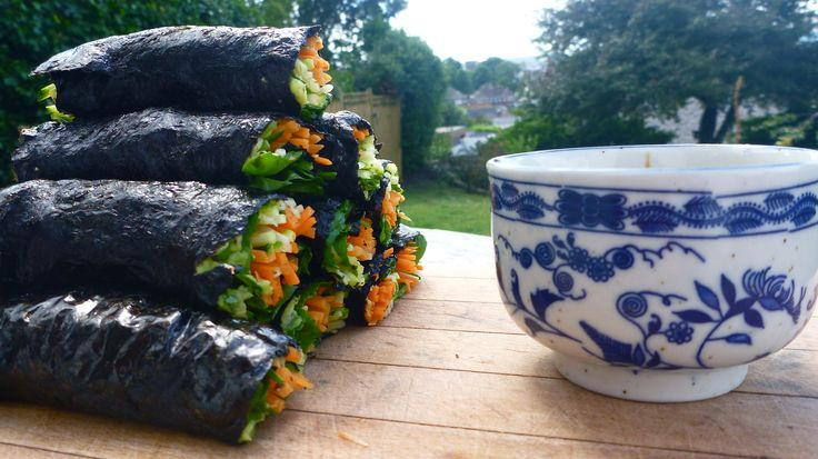 Seaweed Wraps with Tahini-Ginger-Soy Dipping Sauce