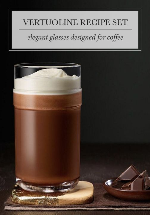 Nothing says quiet moment to yourself quite like chocolate and a bold coffee creation served in the VertuoLine Recipe Set from Nespresso. These elegant glasses were designed specifically for serving coffee. Click to add a pair to your kitchen essentials today.
