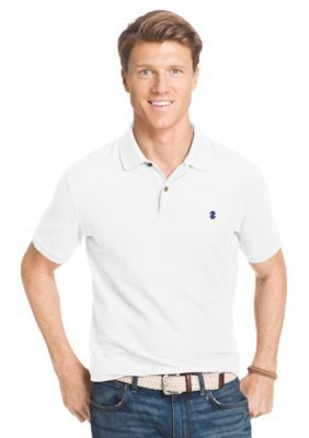 IZOD Bright White Short Sleeve Solid Stretch Advantage Pique Polo Shirt