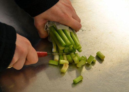 Tulipaner skal snittes tvers over med en skarp kniv