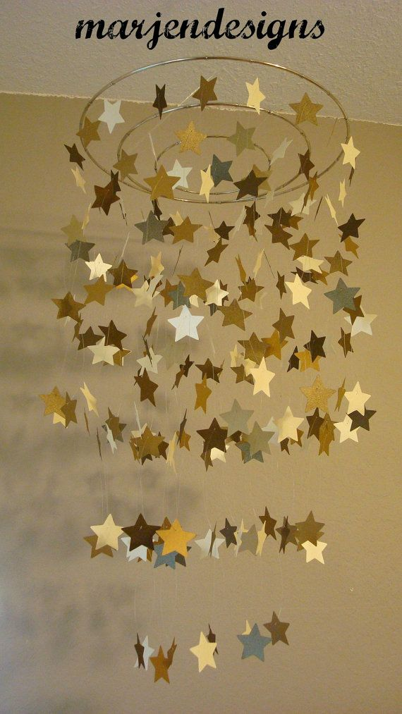 bronze gold ivory shimmery star mobile, dorm room decor,photo prop, crib mobile, teen room decor, outer space theme, galaxy, twinkle twinkle...