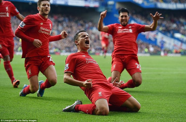 Phil Coutinho after firing Liverpool ahead at Stamford Bridge, 31 Oct 2015 | Che 1 - Liv 3