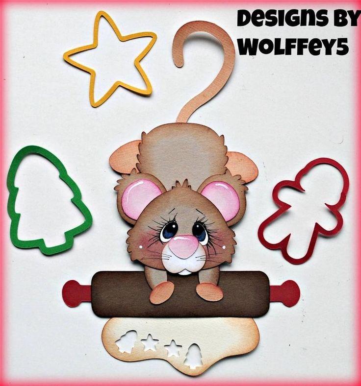 ELITE4U XMAS BAKING MICE paper piecing premade scrapbook page album WOLFFEY5