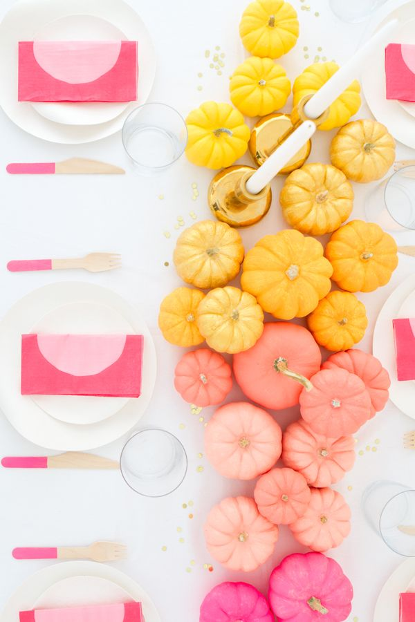 DIY Ombre Mini Pumpkin Centerpiece | Oh Happy Day!
