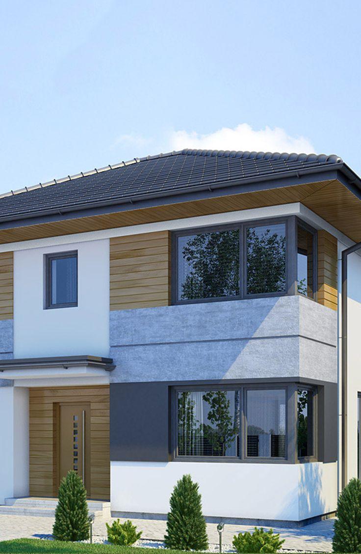 Projekt ekonomicznego domu piętrowego z jednostanowiskowym garażem i czterema sypialniami na górnej kondygnacji. Elegancka, nowoczesna bryła budynku podkreślona narożnymi oknami oraz płaszczyznami tynku o pastelowych barwach oraz prosta forma dachu są atrakcyjne, a zarazem nie obciążają nadmiernie kieszeni inwestora. Na stosunkowo niewielkiej powierzchni wewnątrz domu, urządzono wygodne wnętrze. Na uwagę zasługują przestronne sypialnie z dużymi narożnymi oknami, a także wygodna klatka…