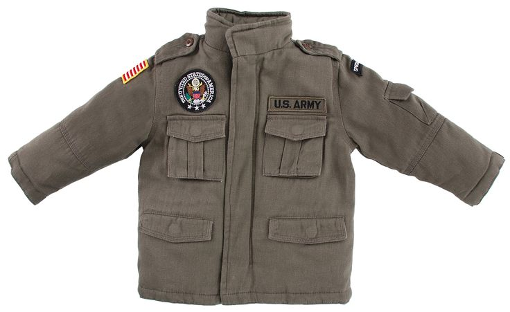 Up and Away Boys' Army Field Jacket 7 Green. This jacket is extremely soft and comfortable. Features four embroidered patches. It includes five pockets with snap flaps. Made of 100% washed cotton. This jacket is machine washable.