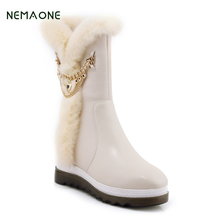 NEMAONE New Fashion 100% Genuine Cowhide Leather Snow Boots Real Fur Classic Mujer Botas Waterproof Winter Shoes for Women