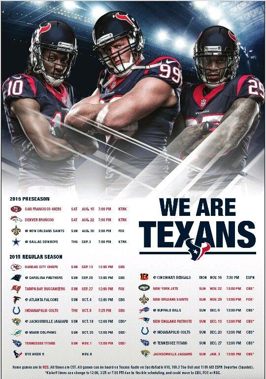 Texans 2015 Schedule