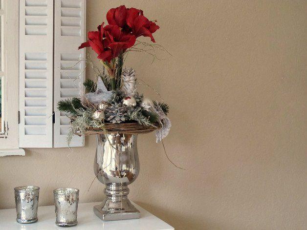 xl adventsgesteck amaryllis im silbernen pokal haus deko blumenschmuck und weihnachten. Black Bedroom Furniture Sets. Home Design Ideas