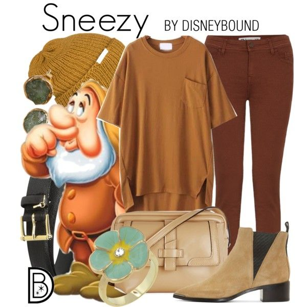 Sneezy by leslieakay on Polyvore featuring Acne Studios, Warehouse, DwellStudio, Lauren Ralph Lauren, Krochet Kids, disney, disneybound and disneycharacter