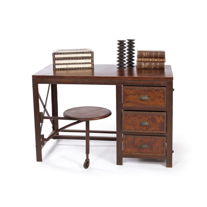 It's Safari Chic. Go back in time to wood and metal steam trunks and 1950s safaris, but stay modern as well. You are guaranteed to have the most unique desk in town with the attached metal stool and ca...  Find the World Expedition Desk, as seen in the Vintage Explorer Collection at http://dotandbo.com/collections/vintage-explorer?utm_source=pinterest&utm_medium=organic&db_sku=104319
