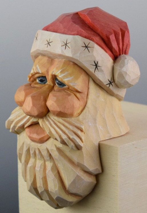 Santa Wood Carving Christmas Caricature Elf Shelf