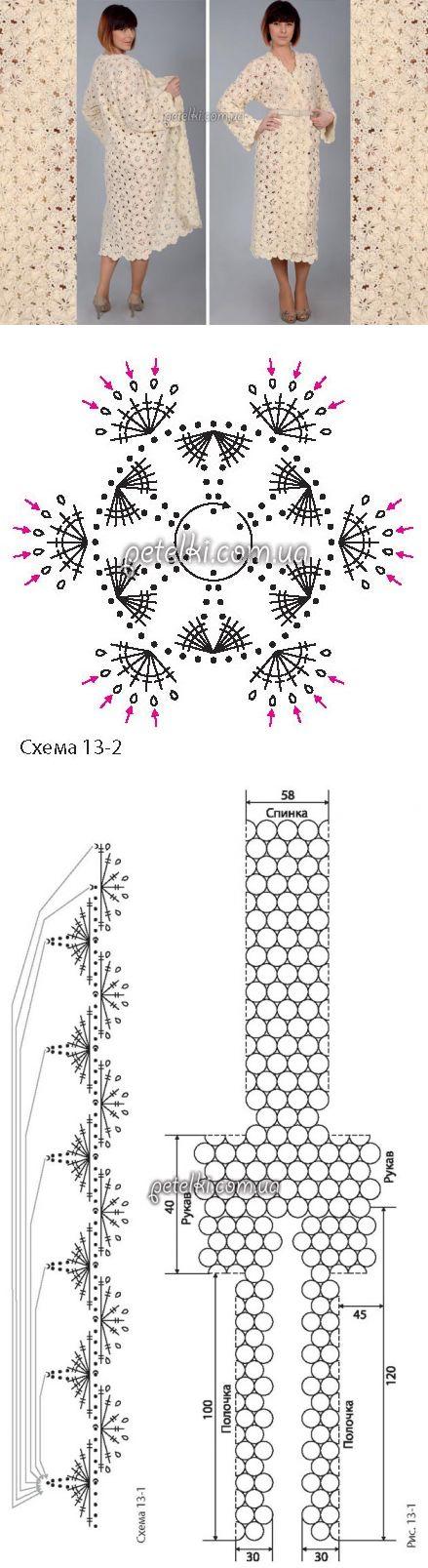 Белый кардиган крючком. Схемы, описание вязания