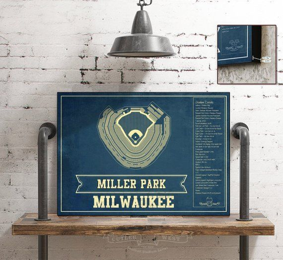 Milwaukee Brewers Miller Park Vintage Mlb Seating Chart Fine Art