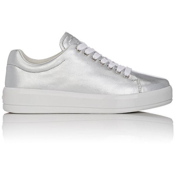 Prada Linea Rossa Women's Platform Sneakers found on Polyvore featuring shoes, sneakers, zapatos, обувь, silver, lace up sneakers, white low top sneakers, white trainers, white lace up sneakers and white platform shoes