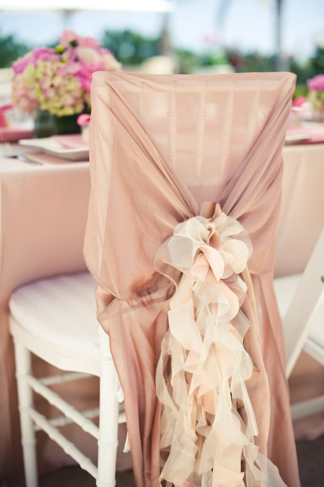 Beautiful Chair Decor ~ This one is from a bridal shower, but would be equally gorgeous at any celebration! Photo by Pictilio. Chair Covering by Wildflower Linen