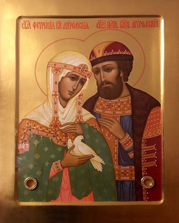 St Febronia [tonsured Euphrosyne, Wonderworker of Murom & St Peter - Prince  Икона.jpg (JPEG Image, 600 × 745 pixels)