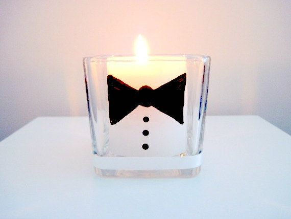 Bow Tie Wedding Hand Painted Glass Candle by WillowCreekGlass, $15.00