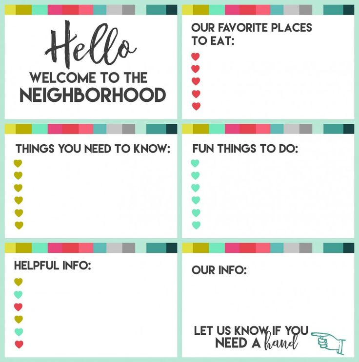 New neighbor welcome gift with printable