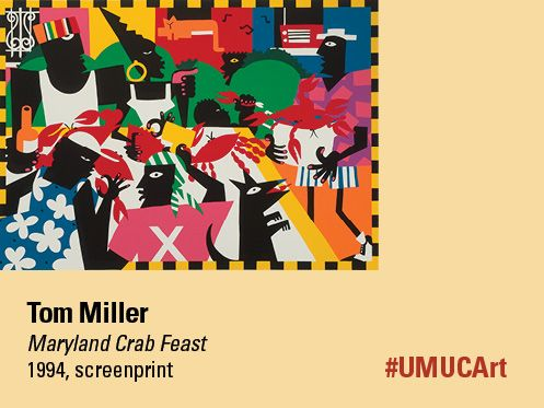 Our featured #UMUCArt artist this week is Tom Miller. In the artist's own style, he takes us to his own Baltimore neighborhood where we can see a Maryland crab feast ensuing. You can almost imagine the crab picking and hear music in the background as these folks enjoy their feast! What are some of the things you do during a summer weekend?