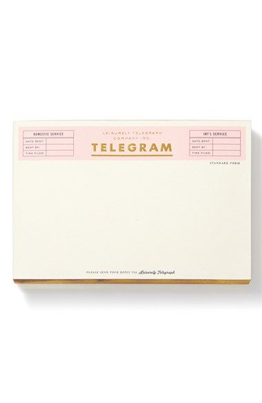 Free shipping and returns on kate spade new york 'telegram' notepad at Nordstrom.com. Send word from across the way with this clever notepad that transmits everyday messages with playful urgency.