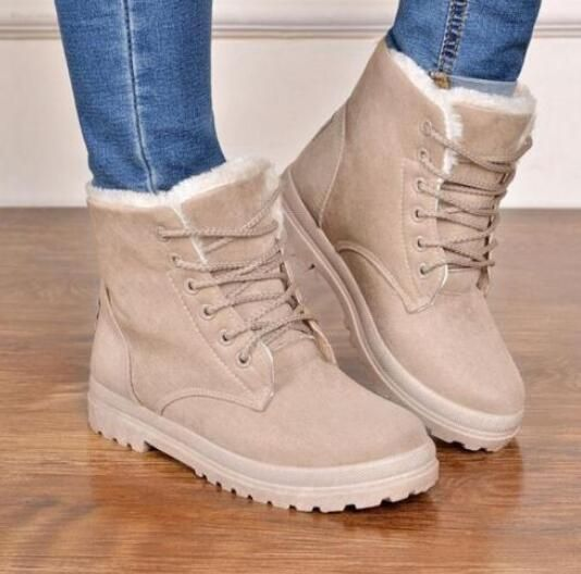 Fashion Women'S Lace-Up Winter Snow Boots Fur Lined Ankle Boots Shoes Plus Size