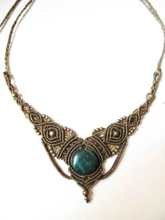 macrame necklace, with Carnlian gemstone. Indian, asian, etnic, victorian, steampunk, simple. Last pone in stock. on Etsy, $45.47