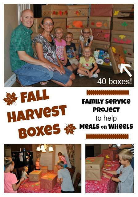 A family service project to help Meals on Wheels:  Fall Harvest Boxes.  One family invited others to help and filled 40 boxes to help Meals on Wheels.  #servingothers #parenting #kidsforkindness