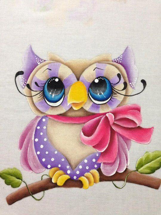 coruja em pintura em tecido