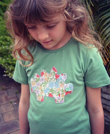 Green Applique Handstitched Girls T Shirt