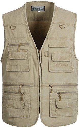 Alipolo Mens Summer Cotton Leisure Outdoor Plus Size Fishing Vest khaki X-Large  Freshest Fishing Clothing And Gear On The Web!