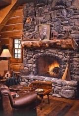 Interesting fireplace with the grout set back