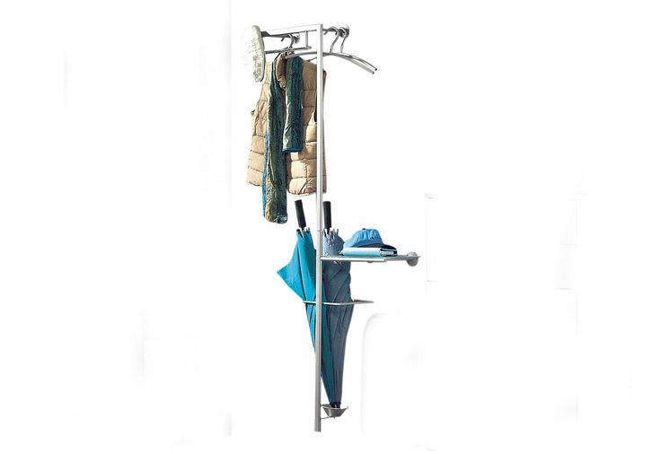 garderobe modern aus metall alufarben pulverbeschichtet 3 kleiderb gelhalter 1 konsole mit. Black Bedroom Furniture Sets. Home Design Ideas