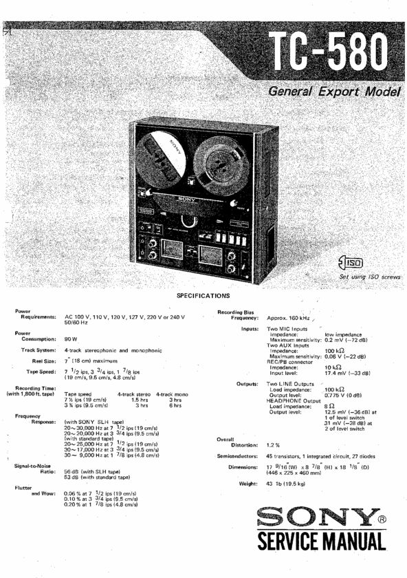 Sony TC-580 reel to reel tape recorder Service Manual 100 per cent satisfaction guaranteed  100 DOWNLOAD