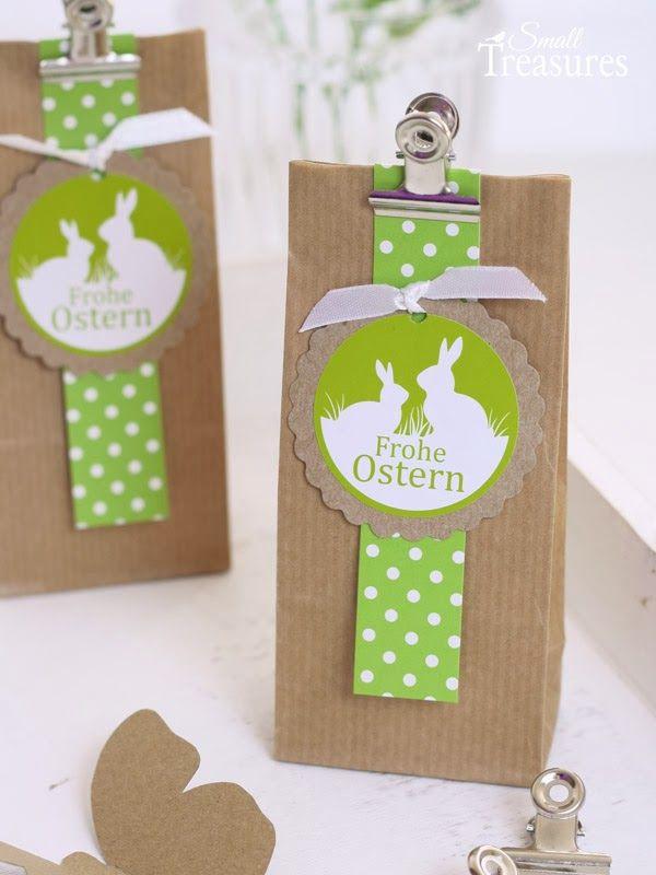 Osterideen mit Kraftpapier und Apfelgrün