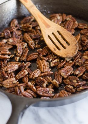 Maple Candied Pecans - Buttered Side Up | easy holiday snack or dessert recipe
