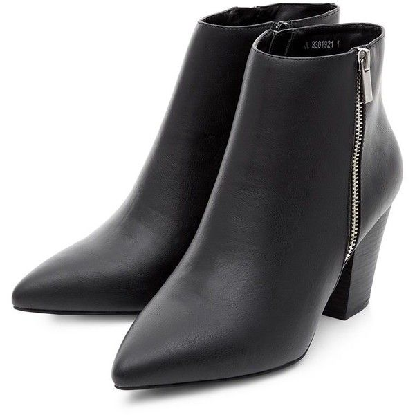 Black Zip Side Block Heel Pointed Ankle Boots (€28) ❤ liked on Polyvore featuring shoes, boots, ankle booties, black boots, black pointed booties, black block heel booties, pointed toe booties and short black boots