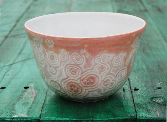Pink crystal bowl pink ceramic crystalline glaze stoneware