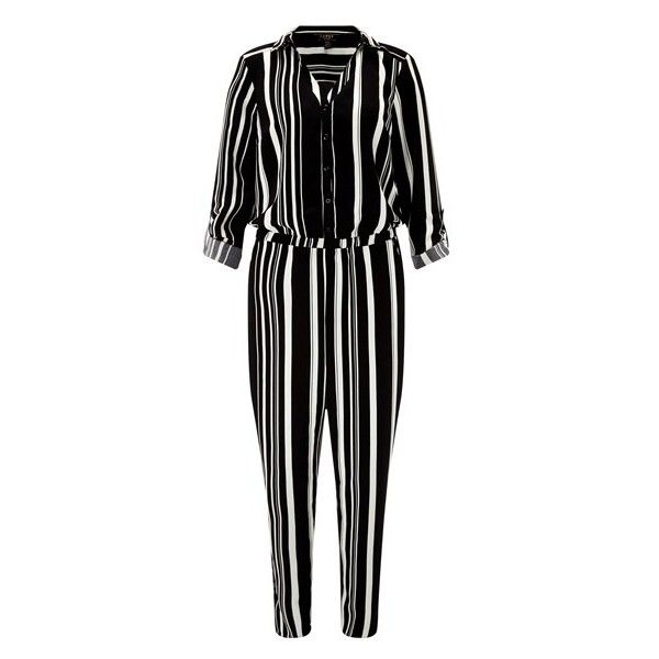 Lipsy Love Michelle Keegan Stripe Jumpsuit (£60) ❤ liked on Polyvore featuring jumpsuits, lipsy jumpsuit, lipsy, jump suit and striped jumpsuits