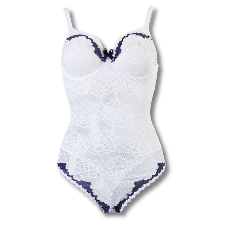 Body Byzance Blanc/Outremer - Lingerie Sans Complexe - La lingerie des femmes aux formes belles et généreuses