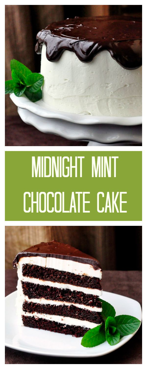 Midnight Mint Chocolate Cake - the perfect combination of dark chocolate cake and creamy mint buttercream frosting. A classic combination that makes a classic celebration cake.