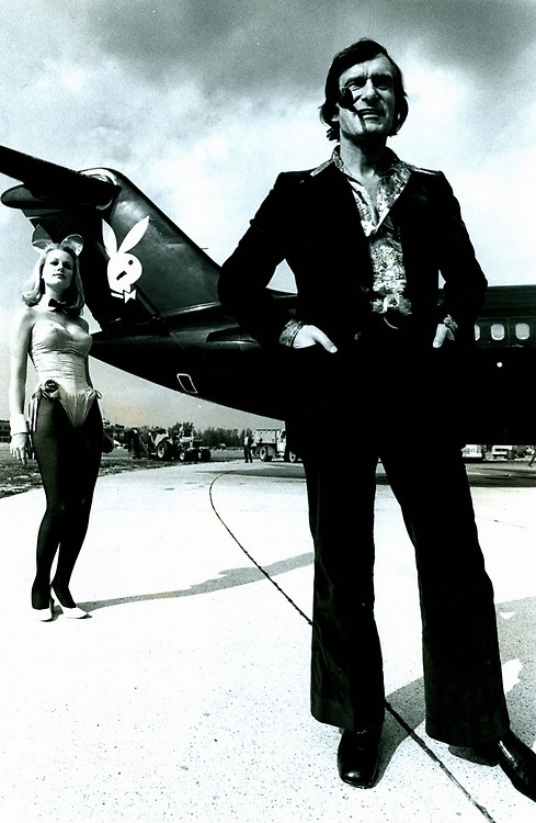 I do look kinda sissy, but I'm not.  Thanks for asking.    Hugh Hefner showing his first private airplane.    CIRCA  1970s.  D.R.