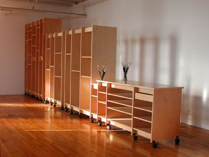 Art Furniture System for storing fine art is made in any length and height for the fine artist to store the artwork. Made by Art Boards™ Archival Art Supply.
