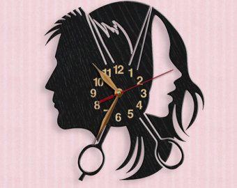 Salón de belleza, reloj de pared de madera de 12 pulgadas (30 cm), decoración del arte de pared, reloj de madera, moderno, tienda de peluquero, regalo, reloj de salón de pelo, tijeras de reloj
