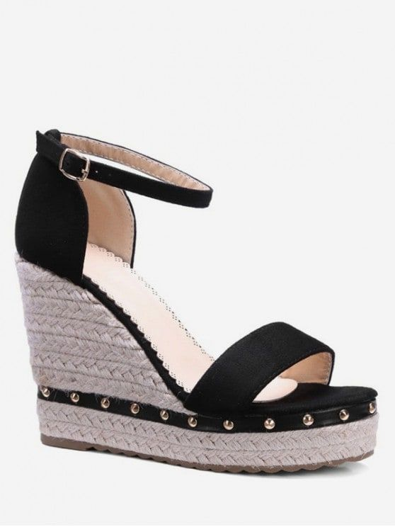 9d73a7da11f3 Ankle-strap Rivet Wedge Sandals APRICOT BLACK PINK in 2019 ...
