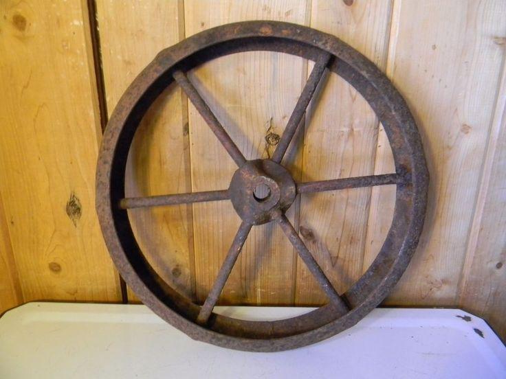 "Old Antique Wagon Wheel Barrow Vintage Metal Cast Iron - Farm Industrial 14"""
